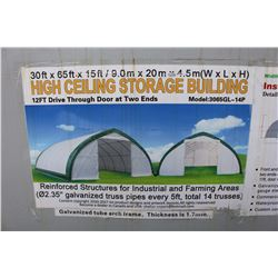 30' X 65' X 15' HIGH CEILING STORAGE BUILDING WITH 12' DRIVE THROUGH DOORS AT 2 ENDS, NEW IN BOX
