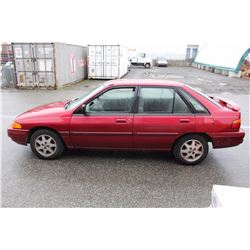 1995 FORD ESCORT HATCHBACK, RED, GAS, AUTOMATIC, VIN#1FALP14J1SW205494, 146,940KMS, RD,AW, DRIVERS
