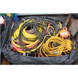 PALLET LOT OF HARDWARE, EXTENSION CORDS, HOSES AND MORE