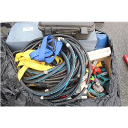 PALLET LOT OF HOSES, TOOLS HARDWARE AND MORE