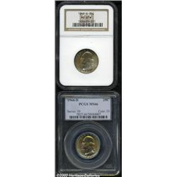 1942-D 25C MS67 S NGC, gold, olive, powder-blue