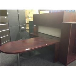 MAHOGANY KRUG 6' P-TOP L-SHAPE EXECUTIVE DESK WITH HUTCH