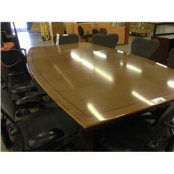 CHERRY 9' BOAT SHAPE INLAID BOARDROOM TABLE