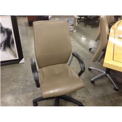 KEILHAUER SAND LEATHER ADJUSTABLE HIGH BACK ERGONOMIC MULTILEVER EXECUTIVE CHAIR
