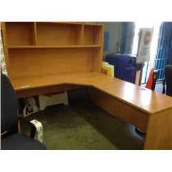 MAPLE 6.5' X 6' CORNER COMPUTER STATION WITH HUTCH AND 12 COMPARTMENT CUBBY STORAGE UNIT
