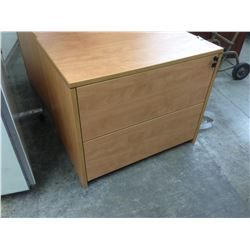 MAPLE 2 DRAWER LATERAL FILE CABINET WITH HUTCH
