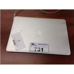 APPLE MACBOOK AIR 13'' NOTEBOOK COMPUTER, NO POWER SUPPLY, NO SSD, CONDITION UKNOWN, SERIAL NUMBER