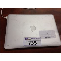 APPLE MACBOOK PRO 13'' ALUMINUM NOTEBOOK COMPUTER, NO POWER SUPPLY, NO HARD DRIVE, CONDITION