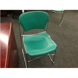 GREEN CHROME FRAME STACKING SIDE CHAIR