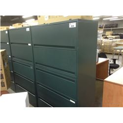 FOREST GREEN 5 DRAWER LATERAL FILE CABINET