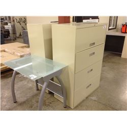 GLASS 36'' COMPUTER TABLE, TWO BEIGE 4 DRAWER LATERAL FILE CABINETS, AND 4' CORK BOARD