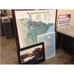 LARGE FRAMED MAP OF MINNESOTA, MAP OF NORTH AMERICA, AND FRAMED INSPIRATIONAL SIGN