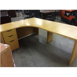 2 7' X 6' OAK CORNER COMPUTER DESKS, 3' OAK ROUND TABLE 2 OAK ACCENT TABLES