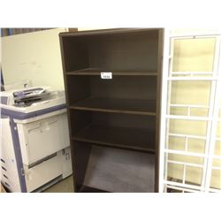 2 DARK WOOD 6' EXECUTIVE DESKS, 6' ADJUSTABLE HEIGHT BOOK CASE AND TWO WHITE 6' DISPLAY RACKS