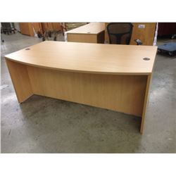 HONEY MAPLE BOW FRONT 6' EXECUTIVE DESK