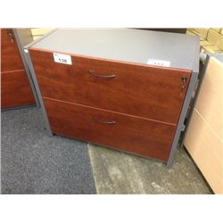 CHERRY AND STORM GREY 2 DRAWER LATERAL FILE CABINET