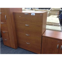 LIGHT CHERRY 4 DRAWER LATERAL FILE CABINET