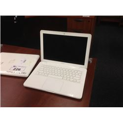 APPLE WHITE MACBOOK LAPTOP, NO HARD DRIVE, NO BATTERY, NO POWER SUPPLY, CONDITION UNKNOWN
