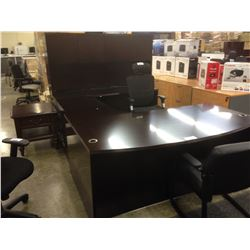 MAHOGANY 9' X 6' BOW FRONT EXECUTIVE DESK WITH HUTCH AND ACCENT TABLE