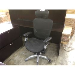 BLACK MESH HIGH BACK MULTILEVER TASK CHAIR WITH HEAD REST
