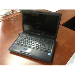 BLACK TOSHIBA NOTEBOOK COMPUTER, COMES WITH POWER SUPPLY, NO HARD DRIVE, CONDITION UNKNOWN