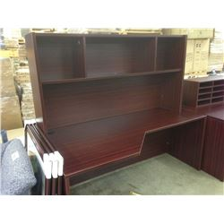 MAHOGANY 6' CORNER COMPUTER DESK WITH HUTCH