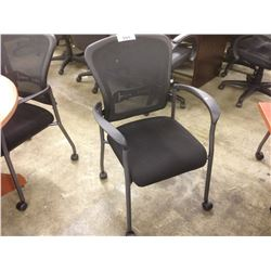 BLACK MESH BACK LOOP ARM MOBILE CLIENT CHAIR