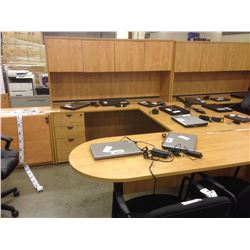 HONEY MAPLE 9' X 6' U-SHAPE EXECUTIVE DESK WITH HUTCH