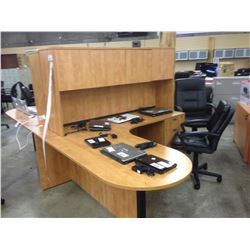 HONEY MAPLE 6' X 6' BULLET TOP L-SHAPE EXECUTIVE DESK WITH HUTCH