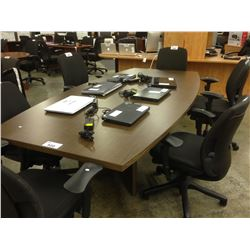 ASH BROWN 8' X 4' BOAT SHAPE BOARD ROOM TABLE