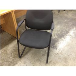 BLACK FABRIC SLED BASE CLIENT CHAIR