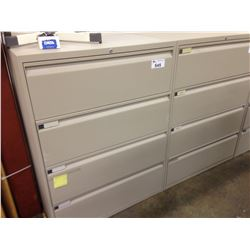 TEKNION GREY 4 DRAWER LATERAL FILE CABINET