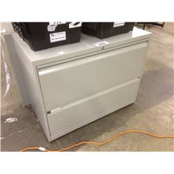 TEKNION GREY 2 DRAWER LATERAL FILE CABINET