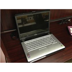 BLUE TOSHIBA NOTEBOOK COMPUTER, COMES WITH POWER SUPPLY, NO HARD DRIVE, CONDITION UNKNOWN