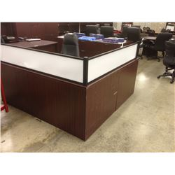 MAHOGANY 6' X 6' RECEPTION DESK, COSMETIC DAMAGE, PLEASE VIEW TO ASSESS CONDITION