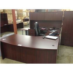 MAHOGANY 9' X 6' BOW FRONT U-SHAPE EXECUTIVE DESK WITH HUTCH