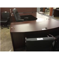 MAHOGANY 9' X 6' BOW FRONT U-SHAPE EXECUTIVE DESK
