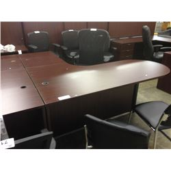 MAHOGANY 6' X 6' P-TOP L-SHAPE EXECUTIVE DESK
