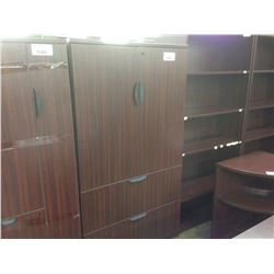 MAHOGANY 6' 2 DRAWER LATERAL FILE CABINET WITH DOUBLE DOOR CASE