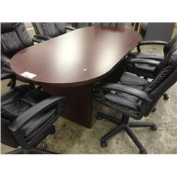 MAHOGANY 6' RACETRACK BOARDROOM TABLE