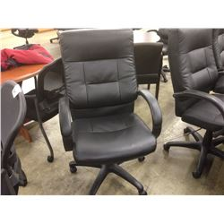 BLACK LEATHER LOOP ARM HIGH BACK EXECUTIVE CHAIR
