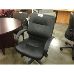 BLACK LEATHER LOOP ARM MID BACK EXECUTIVE CHAIR