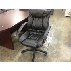 BLACK TUFTED LEATHER MID BACK EXECUTIVE CHAIR