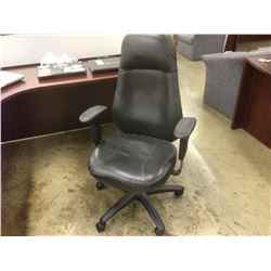 BLACK LEATHER OBUS STYLE FULLY ADJUSTABLE HIGH BACK TASK CHAIR