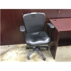 BLACK MESH MID BACK ADJUSTABLE ARM TASK CHAIR