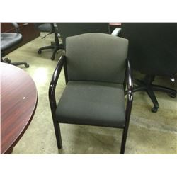 BLACK FABRIC MAHOGANY FRAME CLIENT CHAIR