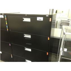 HON BLACK 4 DRAWER LATERAL FILE CABINET