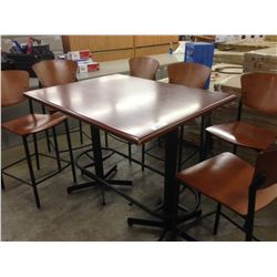 CHERRY BAR HEIGHT LUNCH ROOM TABLE SET WITH SIX STOOLS
