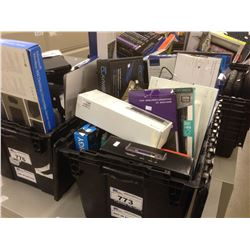 BIN OF ASSORTED ELECTRONICS, ACCESSORIES, COVERS, WIRING AND MORE, BIN NOT INCLUDED