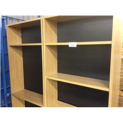 LOT 5 6' AND 6.5' OAK ADJUSTABLE SHELF BOOK CASES